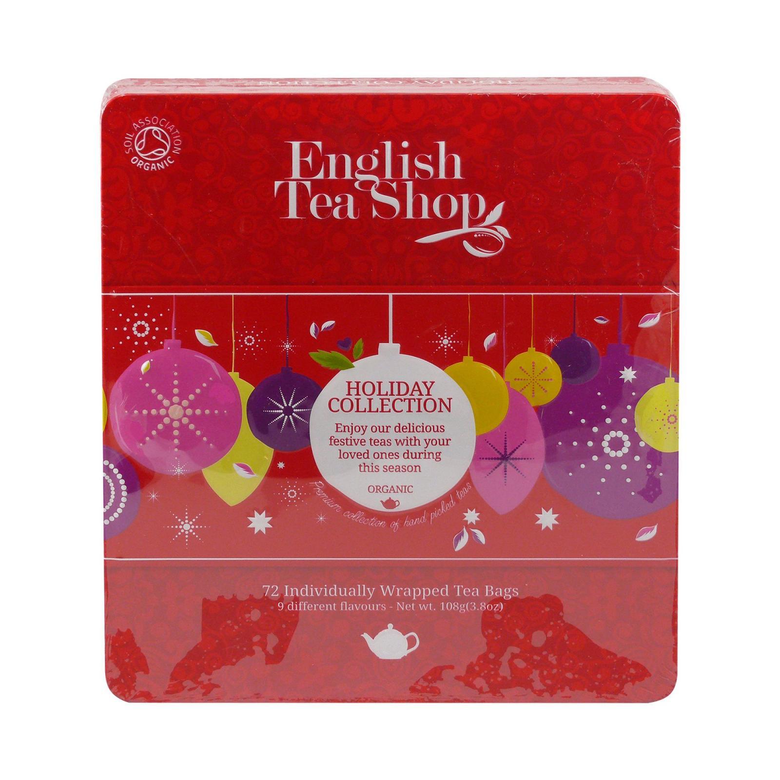 English Tea Shop Vánoční červené ozdoby, plechová kazeta, bio 108 g, 72 ks