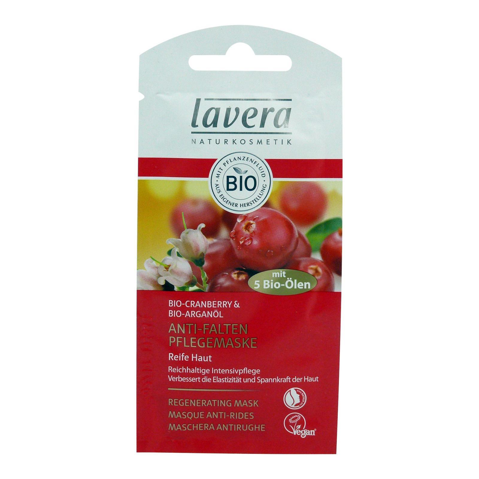 Lavera Pleťová maska regenerující 45+ Bio Brusinka & Arganový olej, Faces 10 ml
