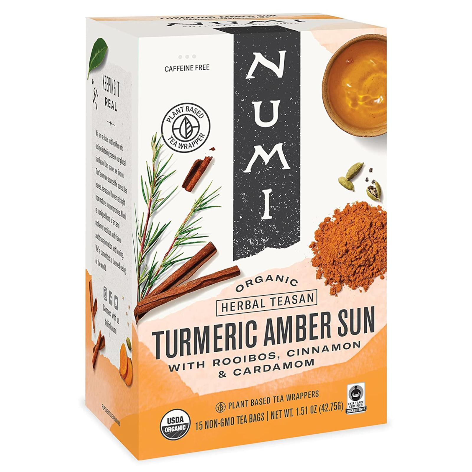 Numi Organic Tea Kořeněný čaj Amber Sun, Turmeric Tea 41,4 g, 12 ks