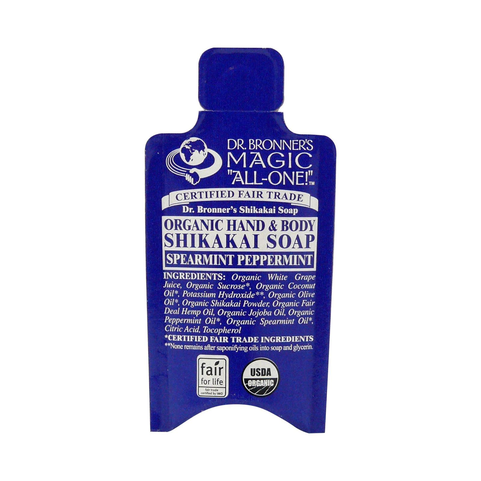 Dr. Bronner's Tekuté mýdlo na tělo i vlasy Shikakai, Spearmint-Peppermint 10 ml