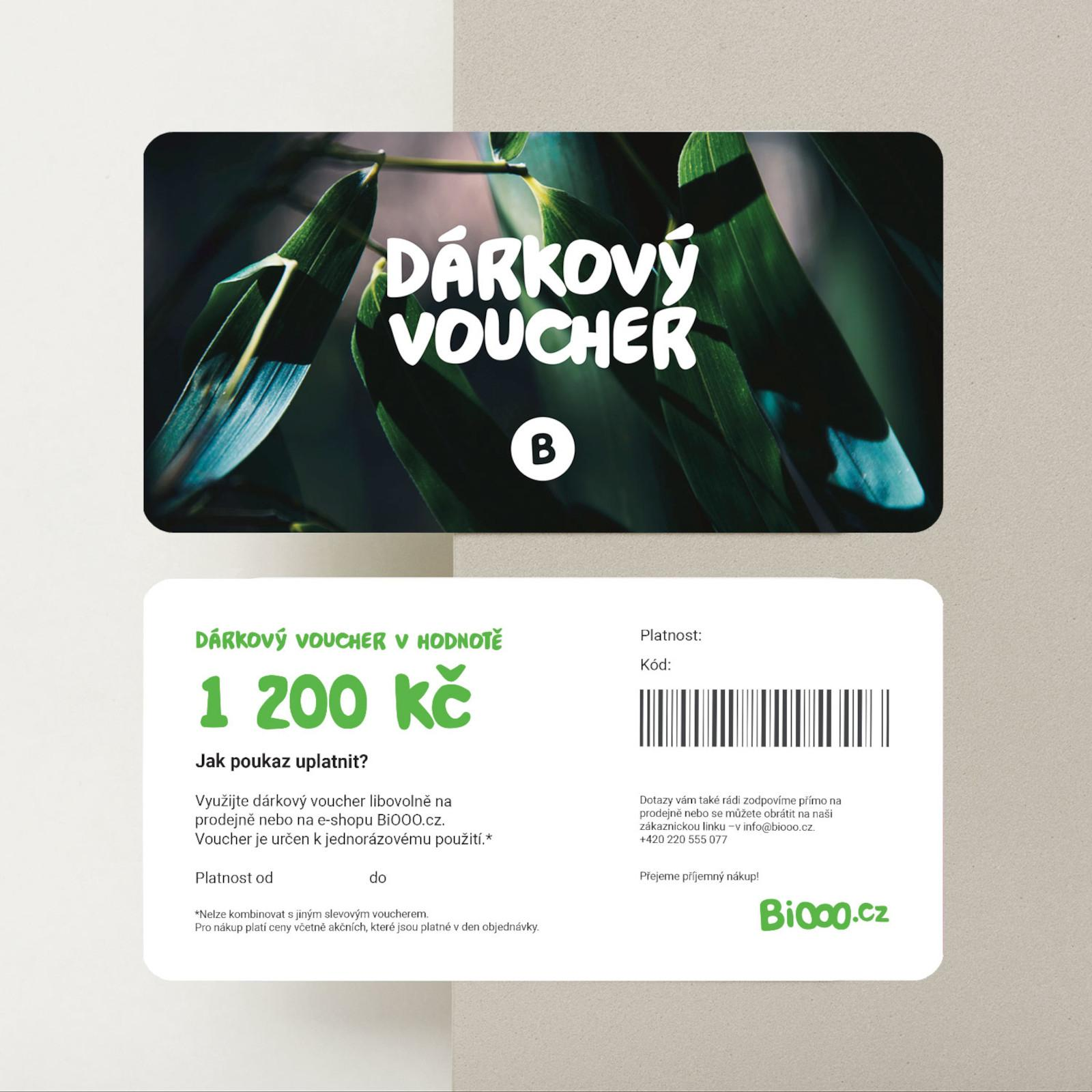 BiOOO Dárkový voucher 1200 Kč 1 ks