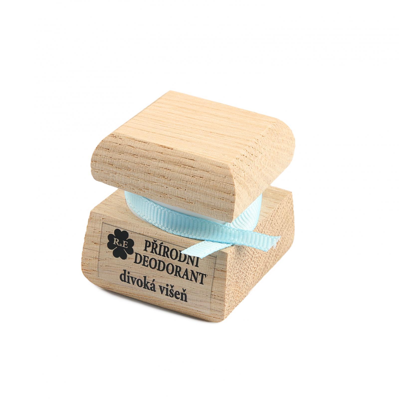 RaE Přírodní krémový deodorant s vůní divoké višně 15 ml dřevěný obal