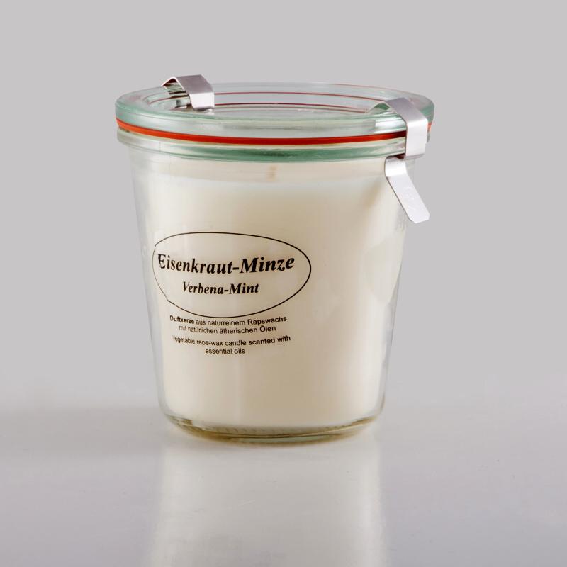 Kerzenfarm Přírodní svíčka Verbena Mint, čiré sklo 8,7 cm