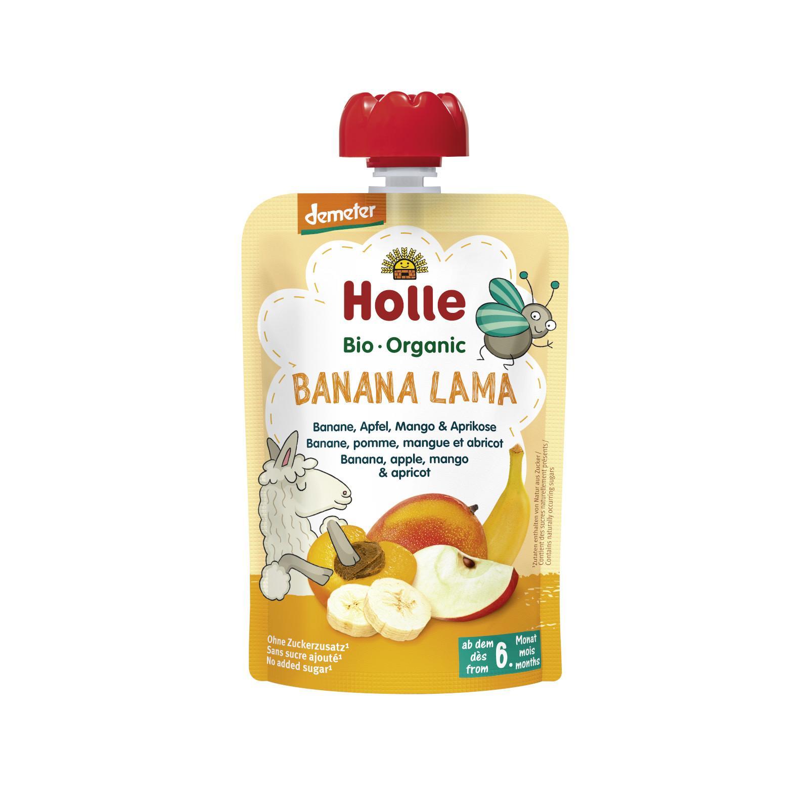 Holle Banana Lama Bio ovocné pyré banán, jablko, mango, meruňka 100 g