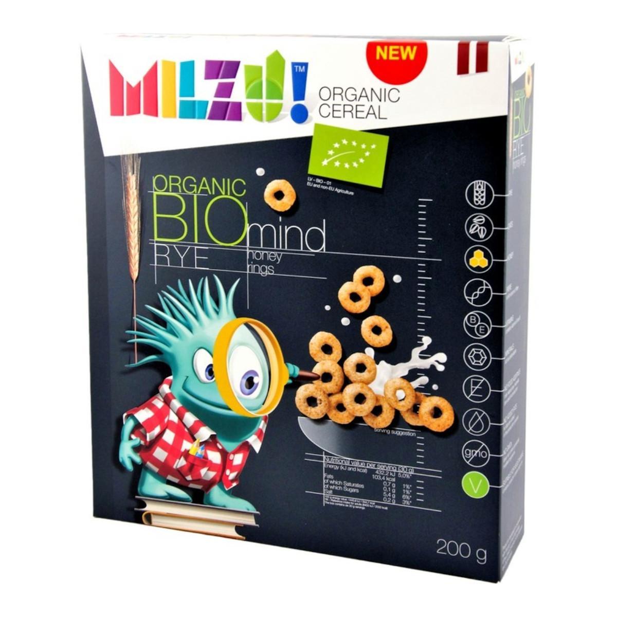 MILZU! BIO Cereálni kroužky s medem 200 g