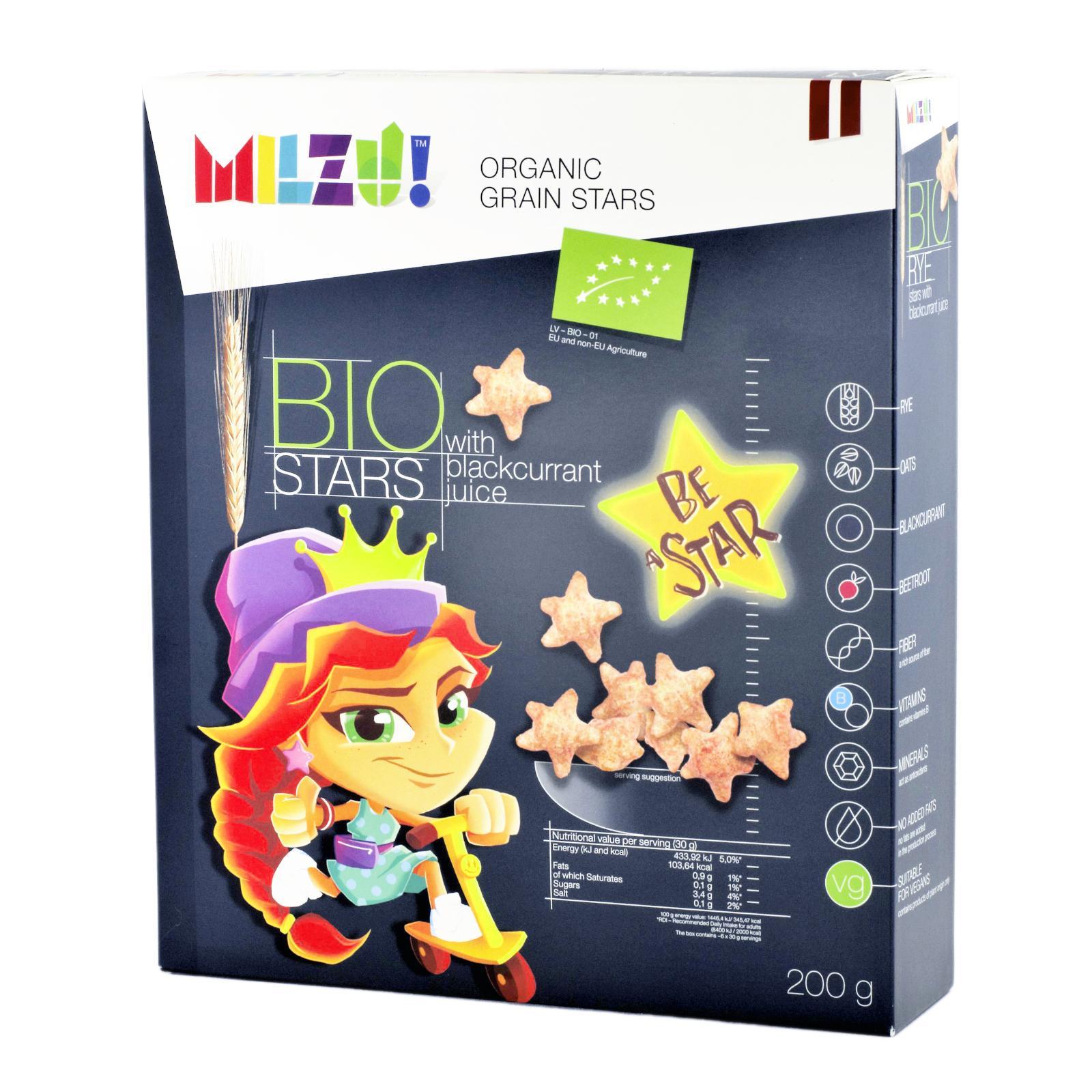 MILZU! BIO Cereální hvězdičky se šťávou z černého rybízu 200 g