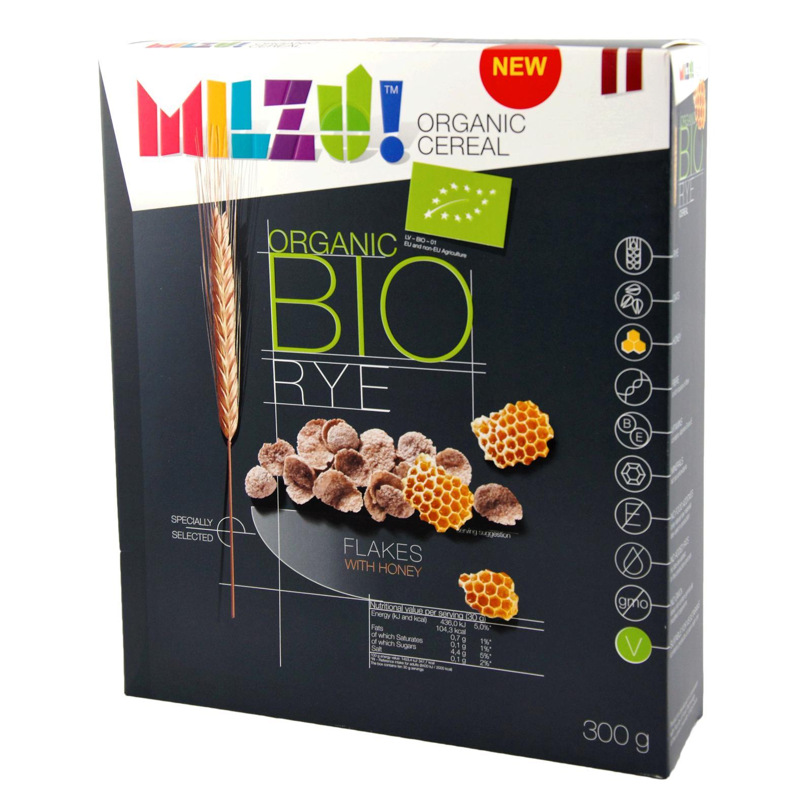 MILZU! BIO Žitné cereálie s medem 300 g
