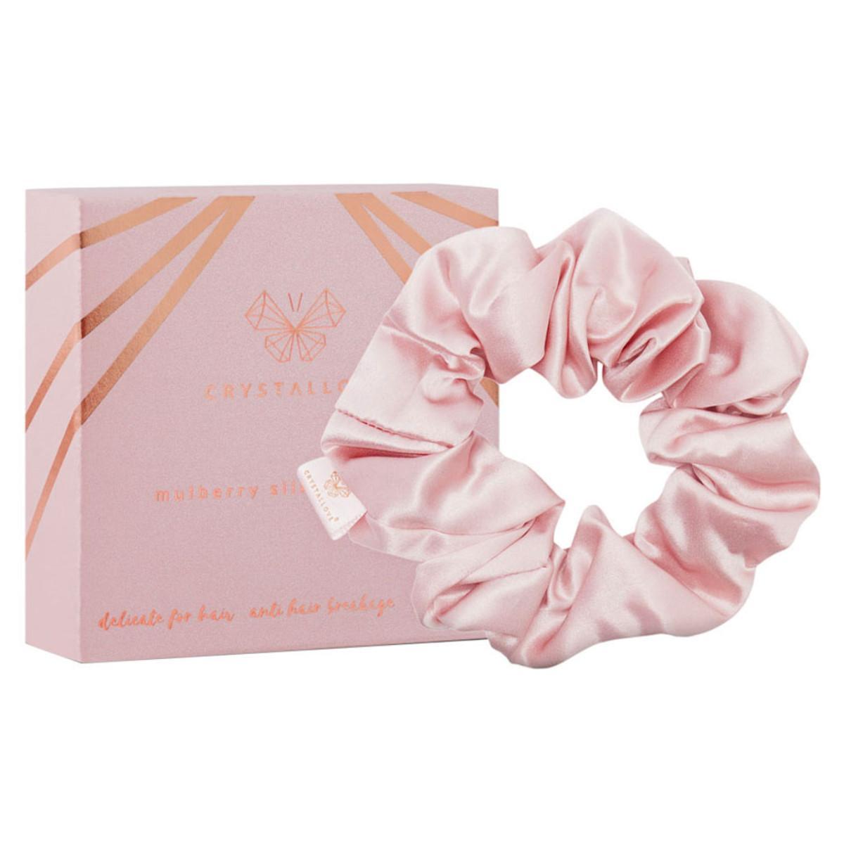Crystallove Hedvábná gumička na vlasy, růžová 1 ks
