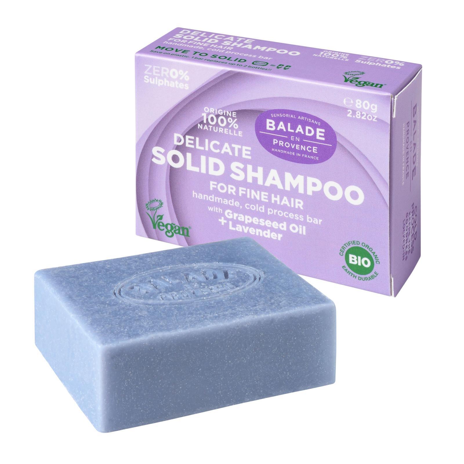 Balade en Provence BIO Posilující tuhý šampon pro jemné vlasy levandule 80 g
