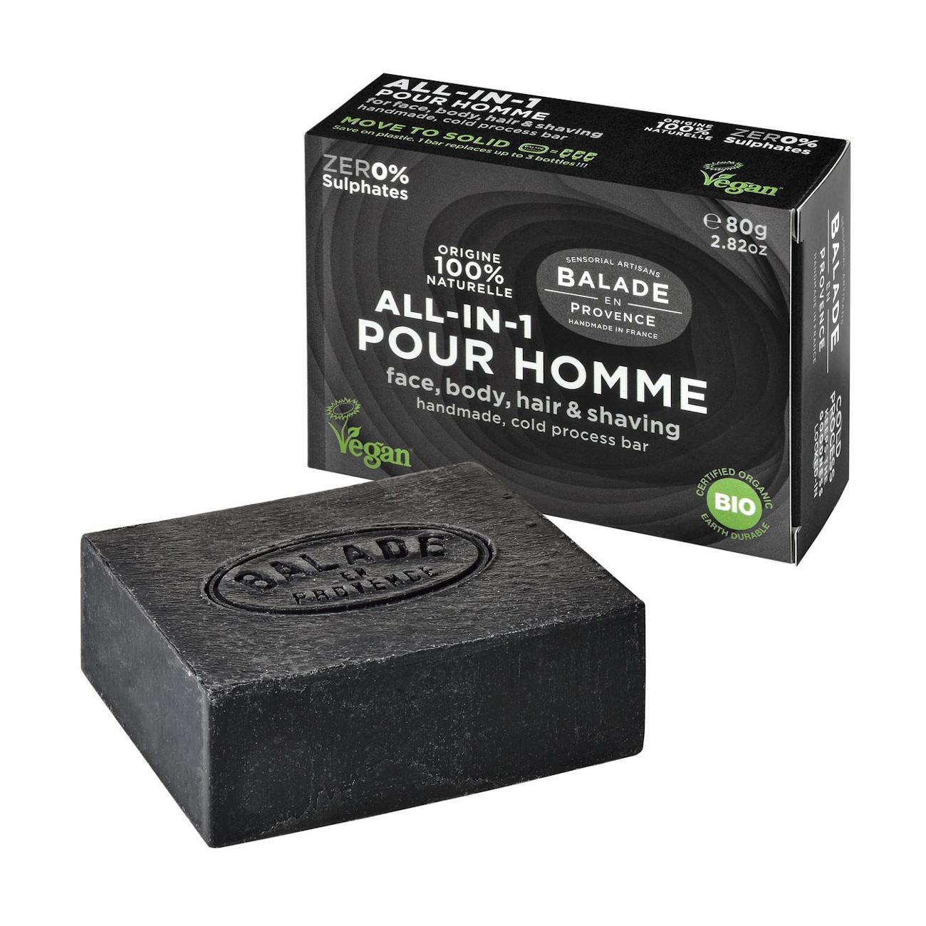 Balade en Provence BIO Tuhé mýdlo all-in-one pro muže citrus 80 g