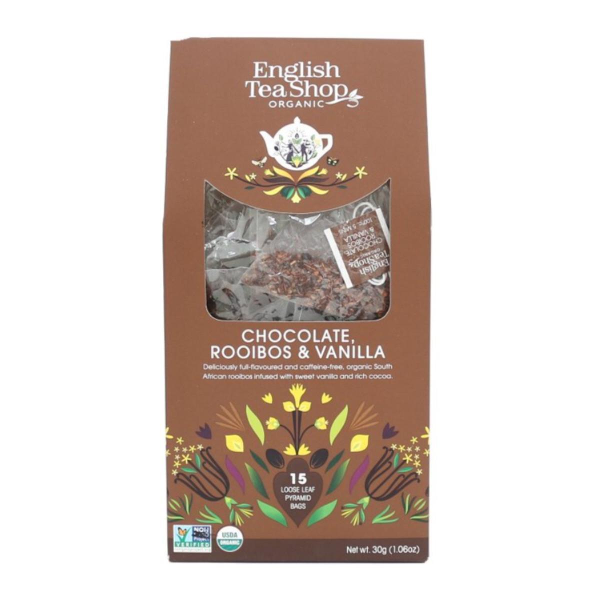 English Tea Shop BIO čaj rooibos, čokoláda a vanilka 30 g, 15 ks