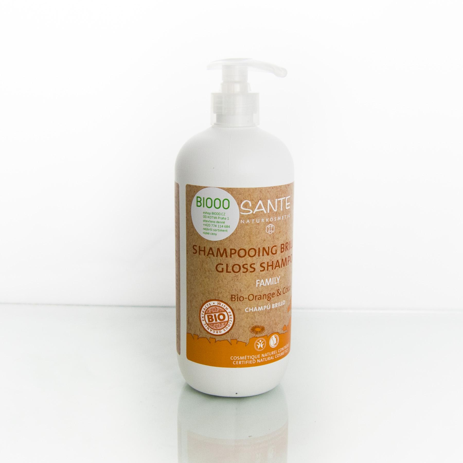 Santé Šampon gloss bio pomeranč a kokos, Family 500 ml