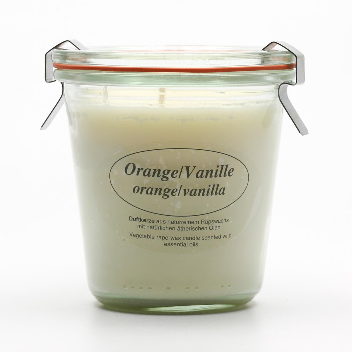 Kerzenfarm Přírodní svíčka Orange Vanilla, čiré sklo 8,7 cm