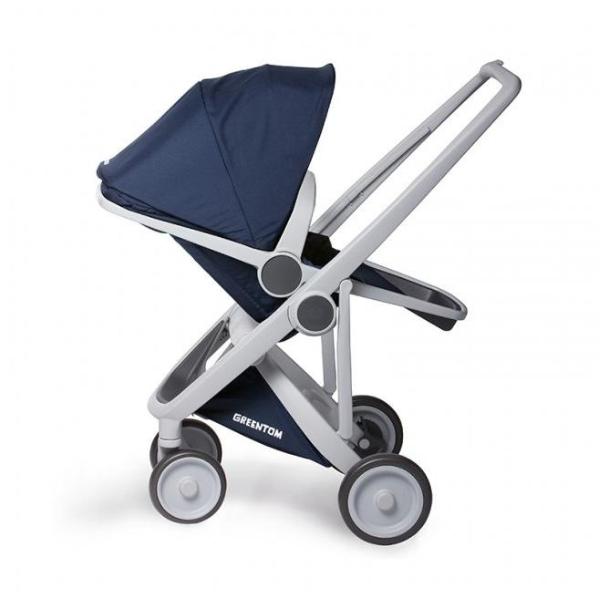 GreenTom Dětský kočárek UPP Reversible, šedý rám 1 ks, modrý
