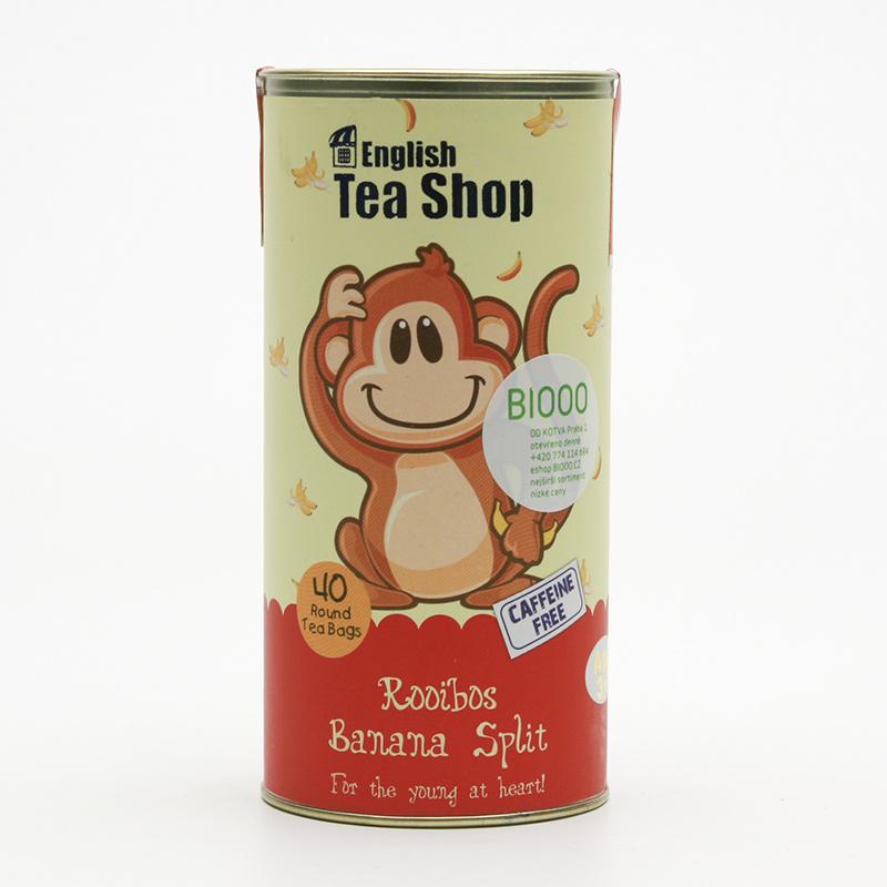 English Tea Shop x Dětský čaj rooibos banánový koktejl, plechová krabička 40 ks