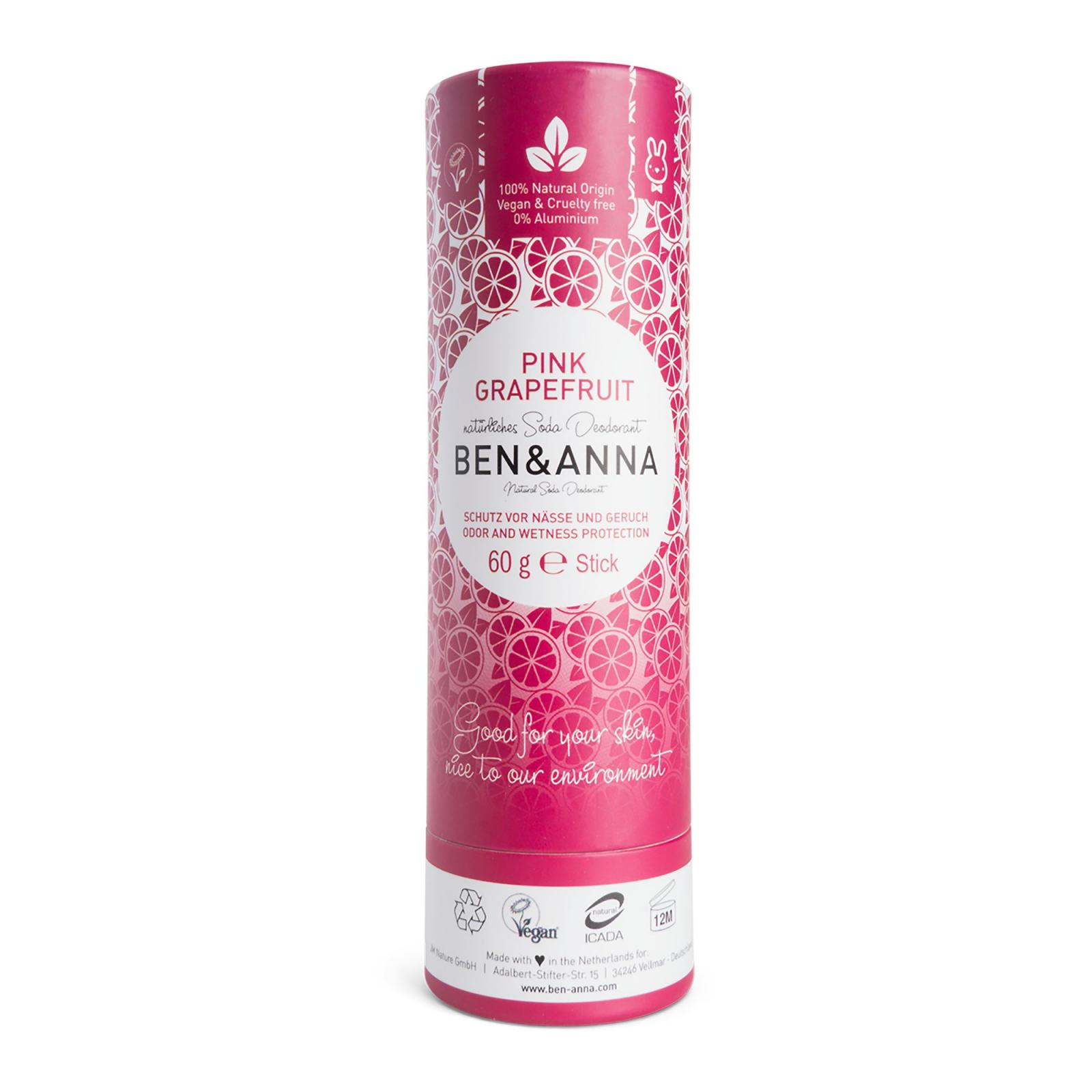Ben & Anna Tuhý deodorant Pink Grapefruit 60 g, papírový obal