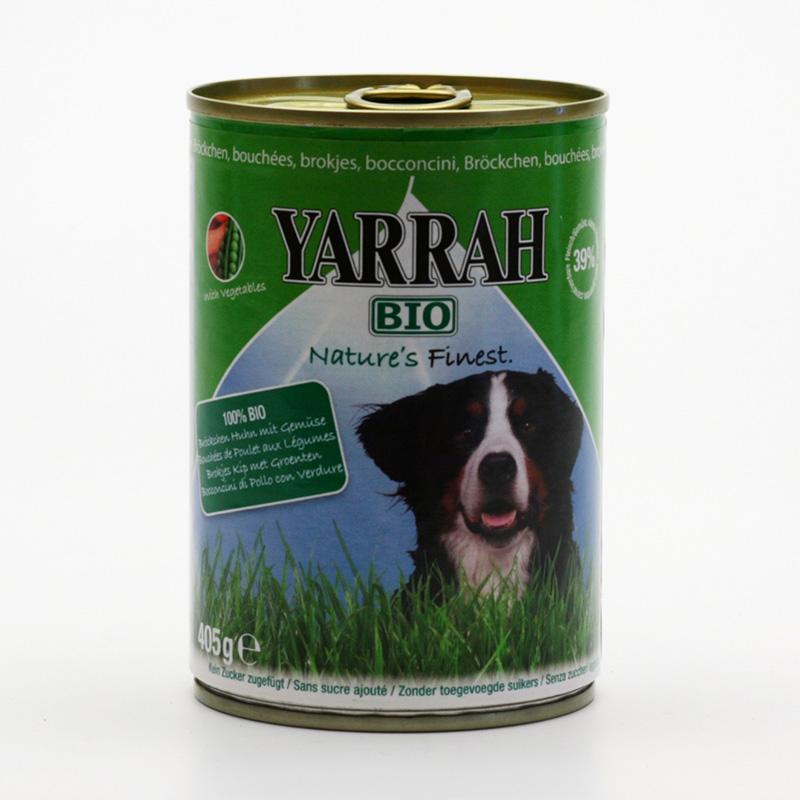 Yarrah x Kousky kuřecí se zeleninou pro psy v konzervě 405 g