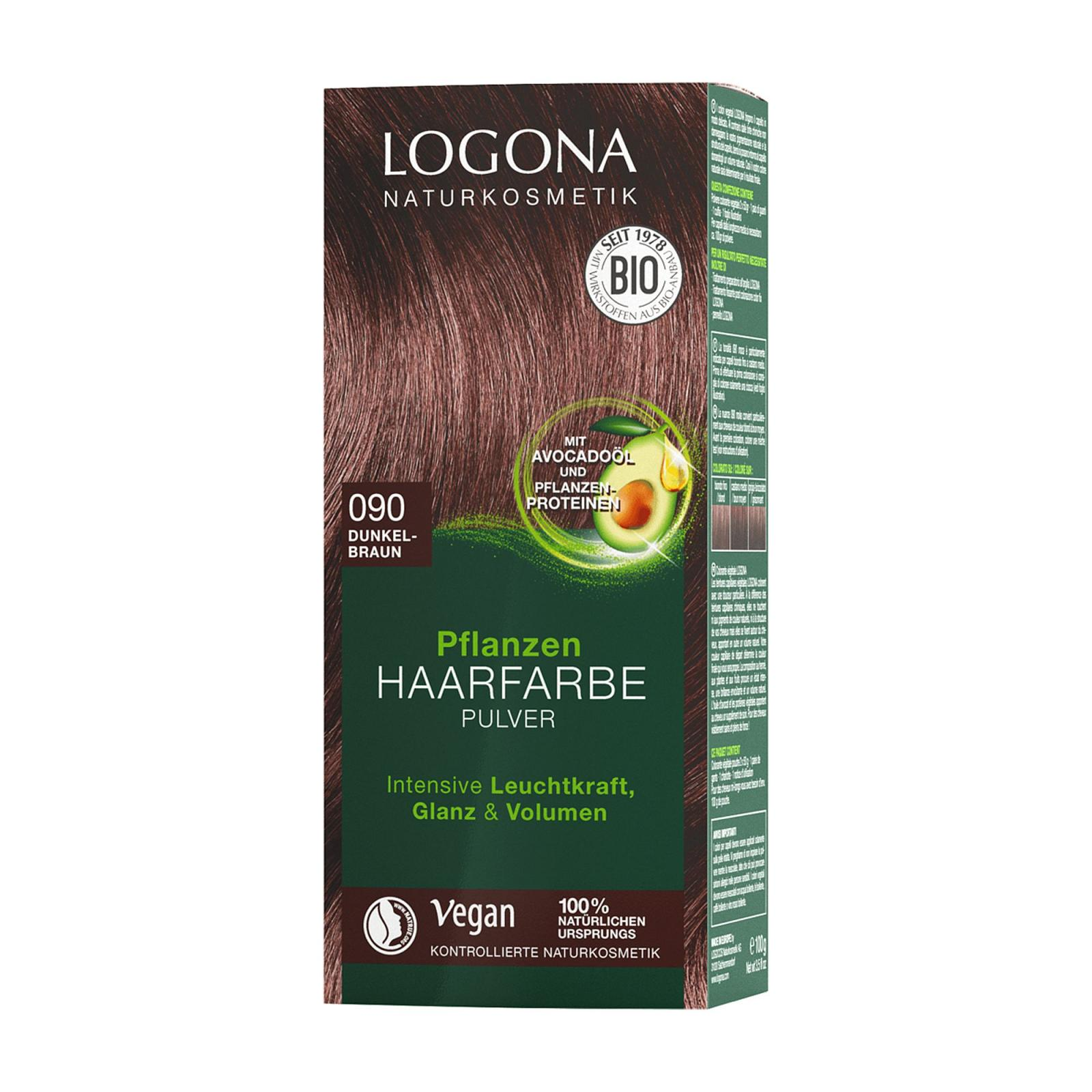 Logona Prášková barva na vlasy tmavě hnědá, 090 100 g