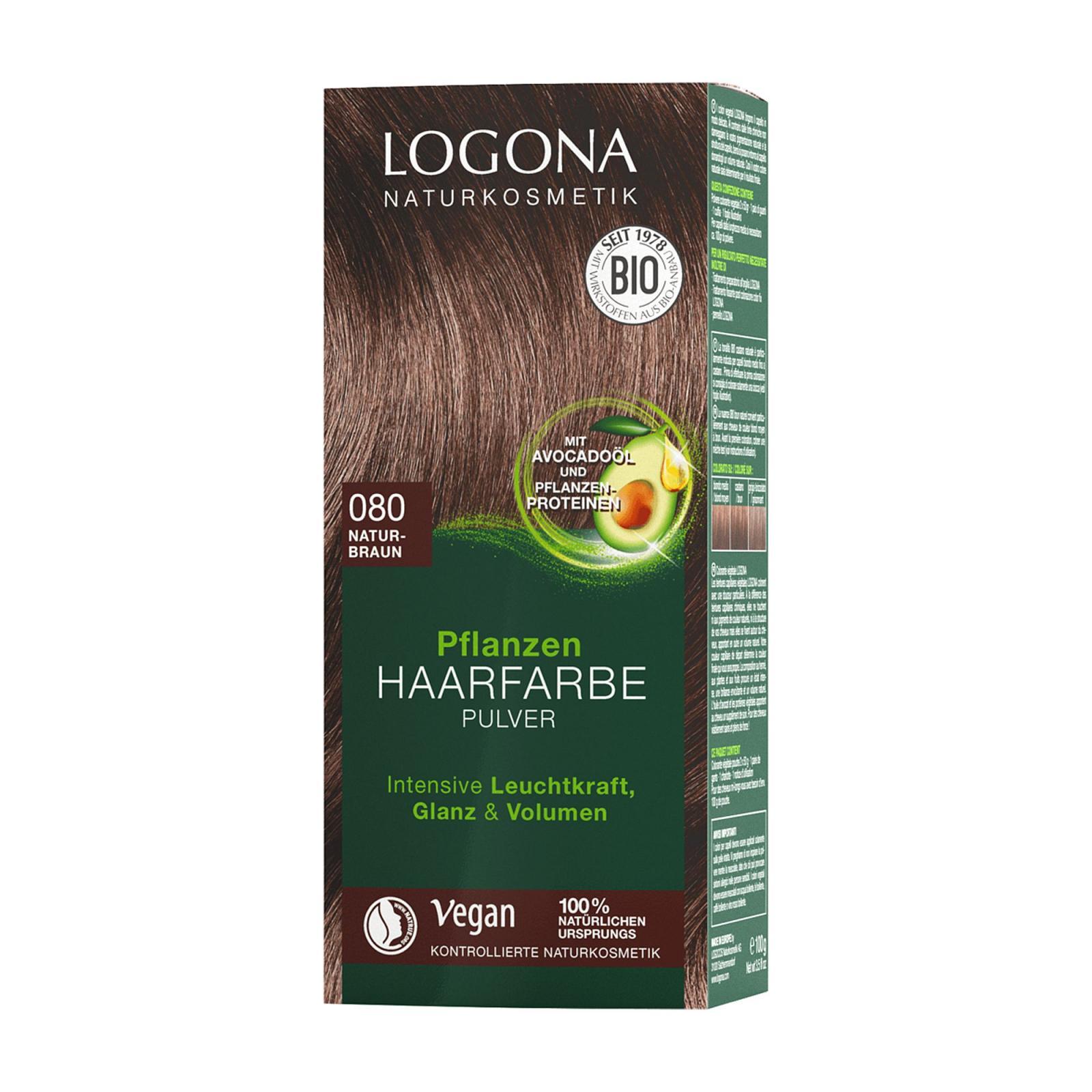 Logona Prášková barva na vlasy hnědá přírodní, 080 100 g