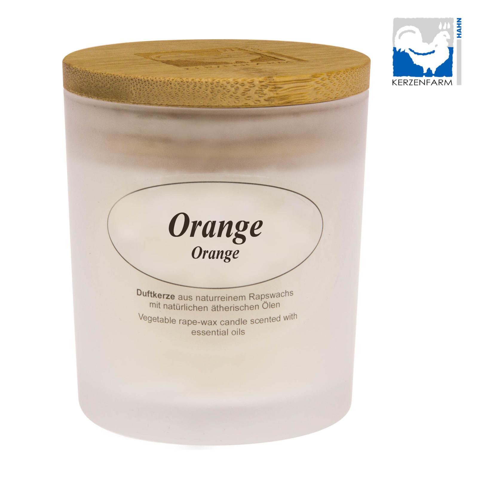 Kerzenfarm Přírodní svíčka Orange, mléčné sklo 8 cm