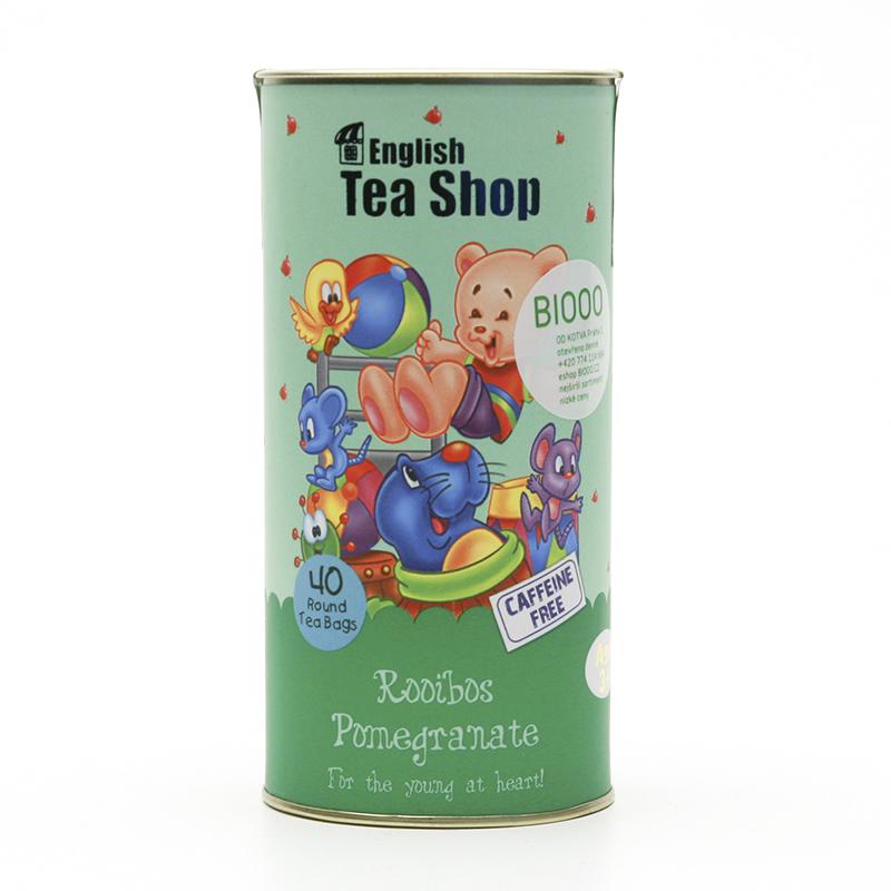 English Tea Shop x Dětský čaj rooibos granátové jablko, plechová krabička 40 ks