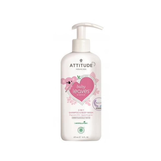 Attitude Dětské tělové mýdlo a šampon bez vůně, Baby leaves 473 ml