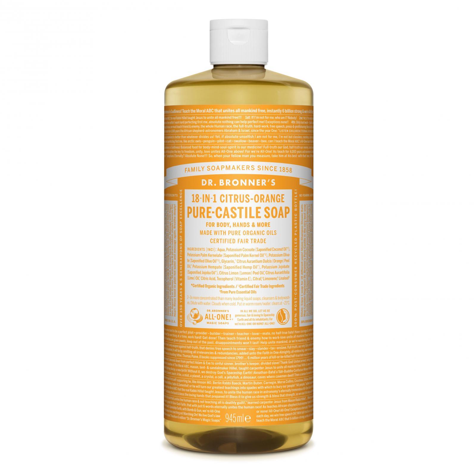 Dr. Bronner's Tekuté universální mýdlo ALL-ONE!, Citrus-Orange 945 ml