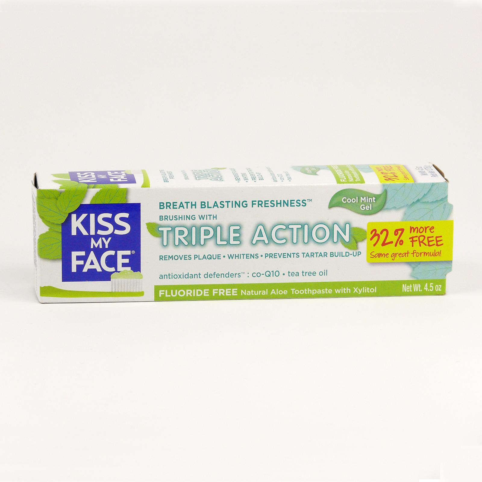 Kiss My Face Corp. Zubní gel Triple Action, bez fluoridu 127,6 g