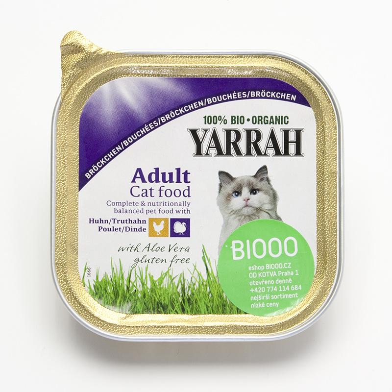 Yarrah Kousky kuřecí a krůtí pro kočky 100 g