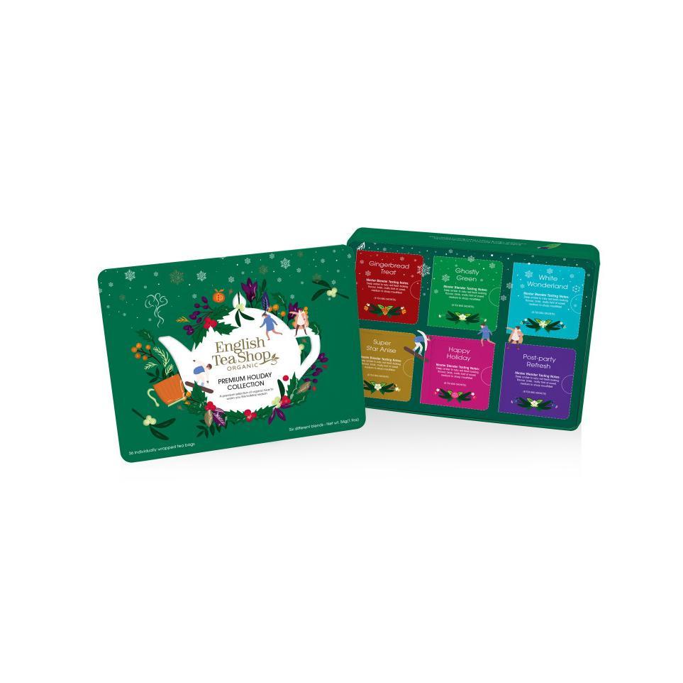 English Tea Shop Vánoční sada Zelené Vánoce, plechová krabička, bio 72 g, 36 ks