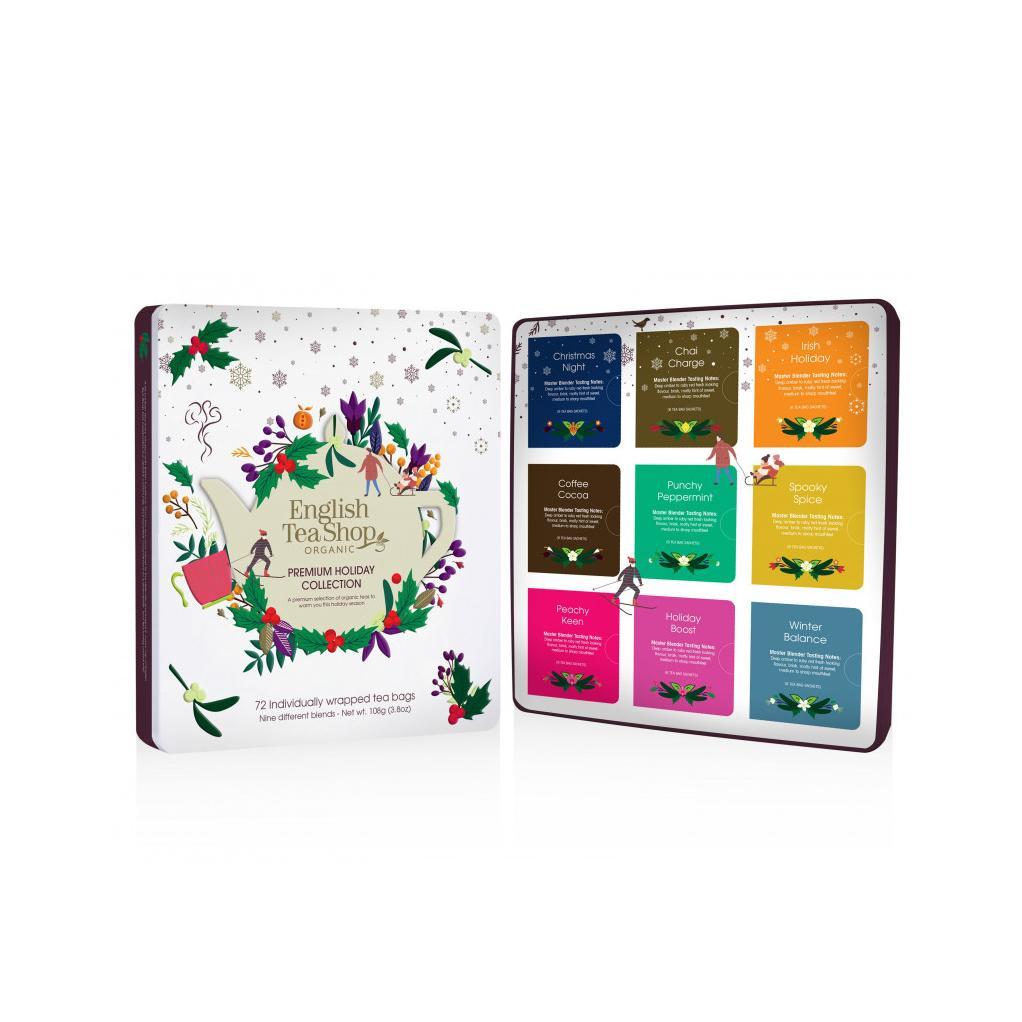 English Tea Shop Prémiová vánoční sada Bílé Vánoce, plechová krabička, bio 144 g, 72 ks