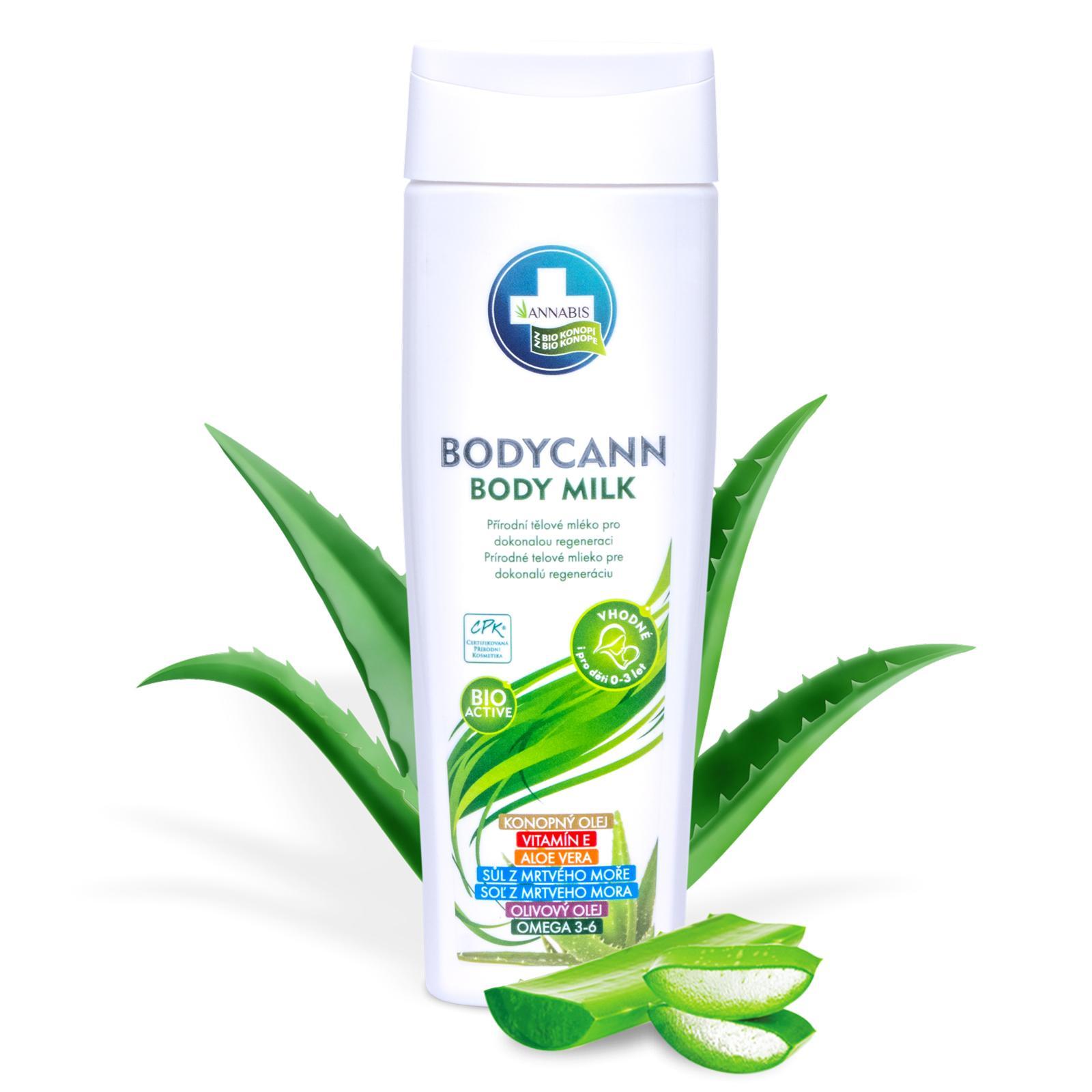 Annabis Přírodní tělové mléko pro dokonalou regeneraci, Bodycann 250 ml