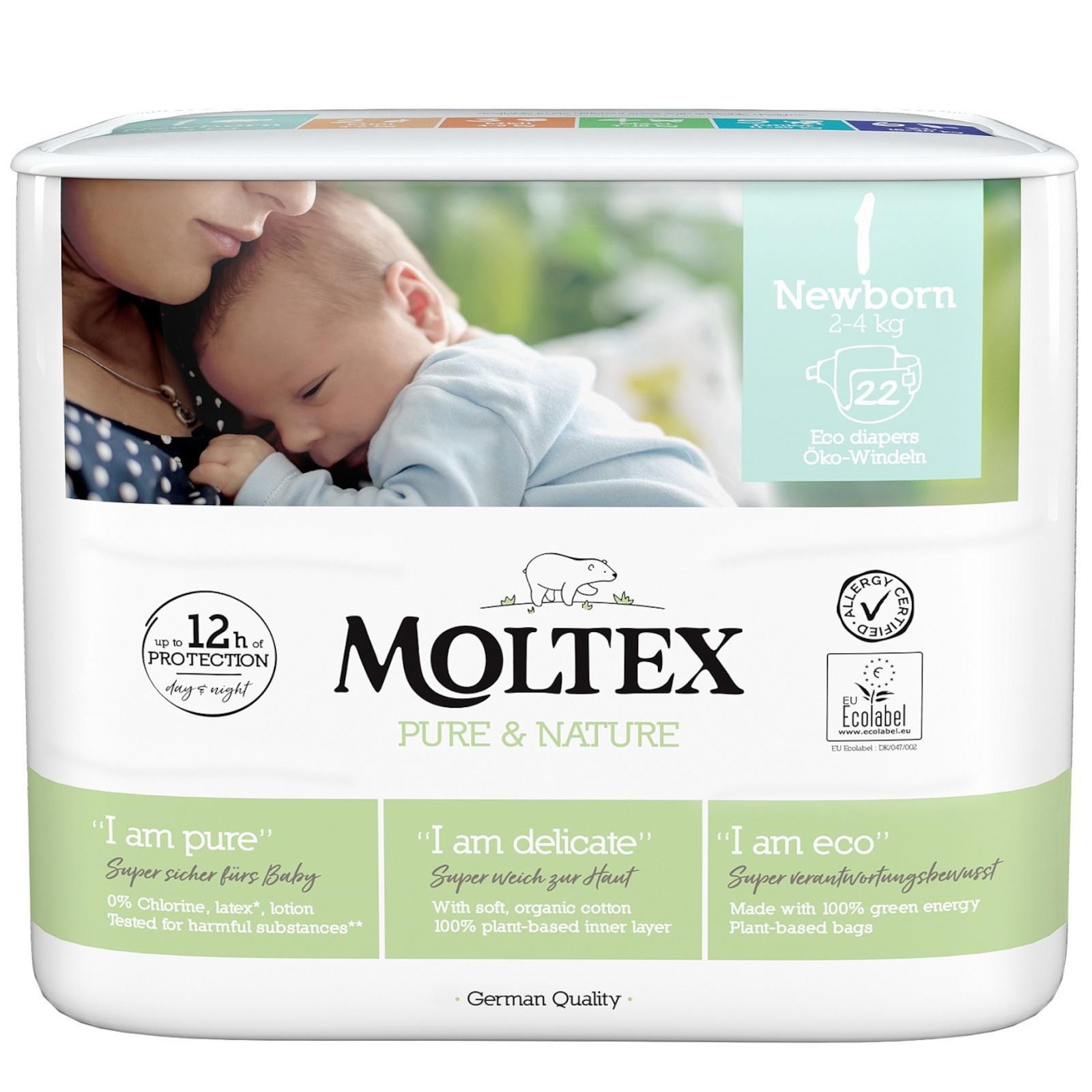 Moltex Dětské plenky Newborn 2-4 kg Pure & Nature 22 ks