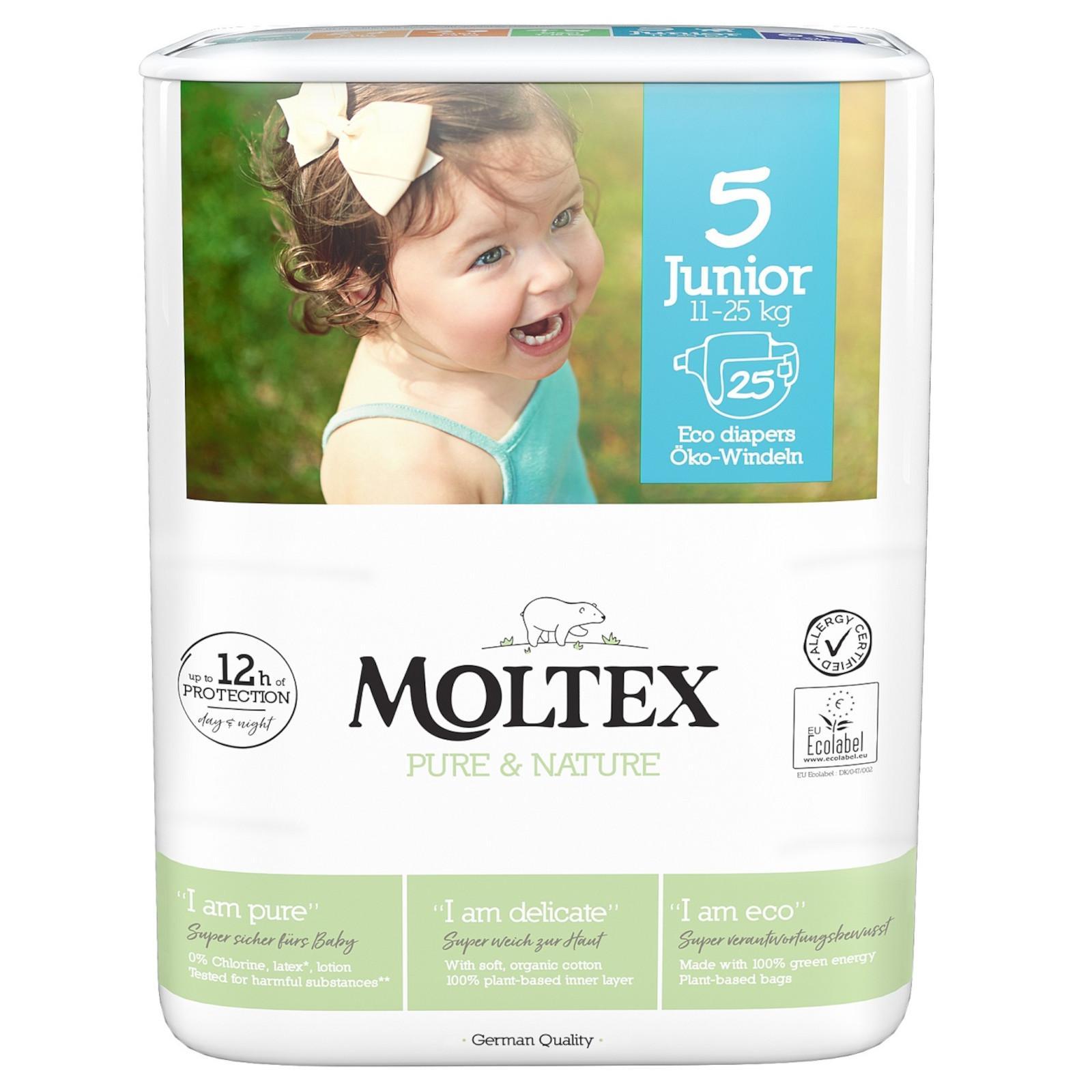 Moltex Dětské plenky Junior 11-25 kg Pure & Nature 25 ks