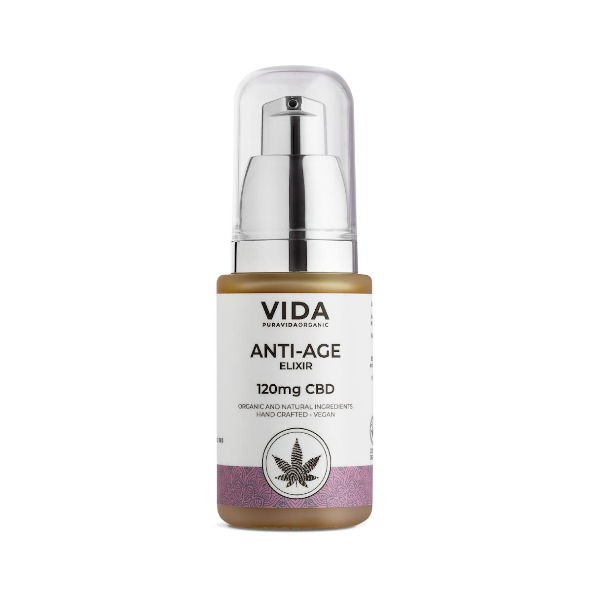 Pura Vida Organic CBD Pleťový elixír, Anti-age, 120 mg 30 ml