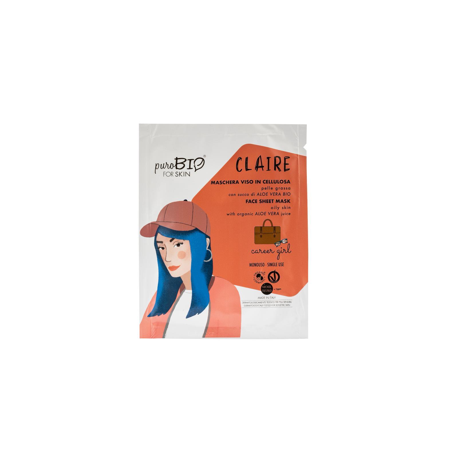puroBIO cosmetics Látková maska pro mastnou pleť Claire Career Girl 17 15 ml