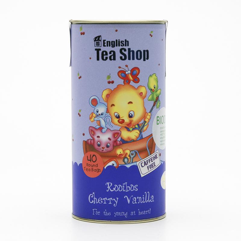 English Tea Shop x Dětský čaj rooibos třešeň a vanilka, plechová krabička 40 ks