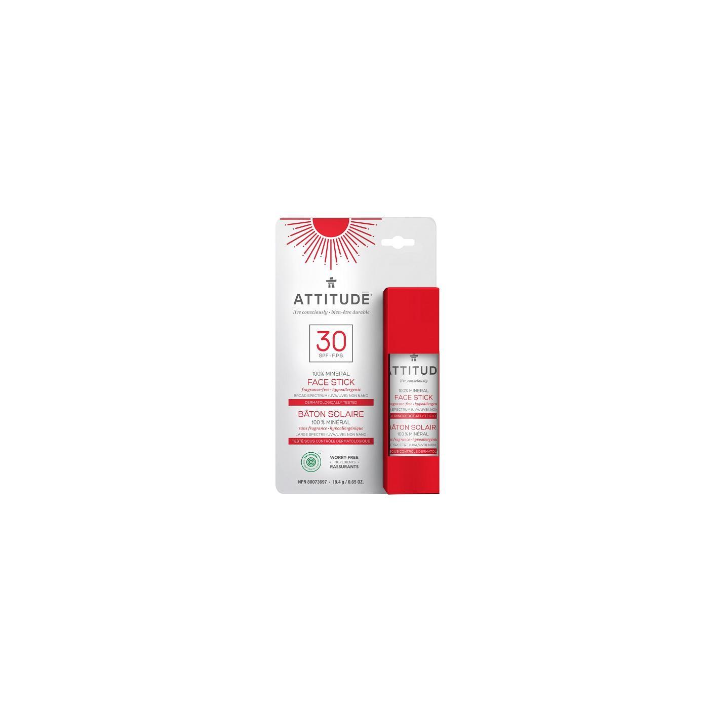 Attitude 100% minerální ochranná tyčinka SPF 30 na obličej a rty 18,4 g