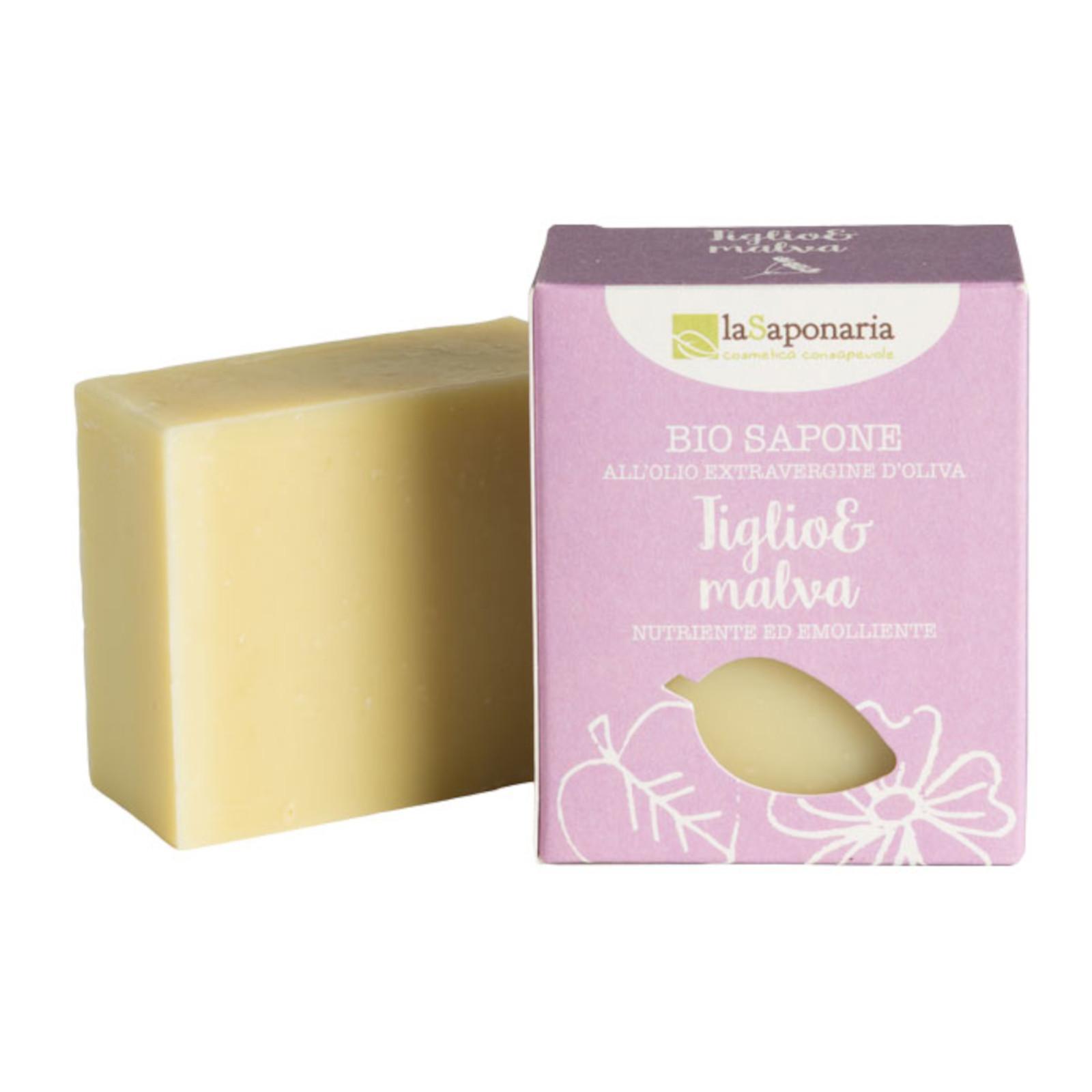 laSaponaria Tuhé olivové mýdlo BIO, Lípa a sléz 100 g