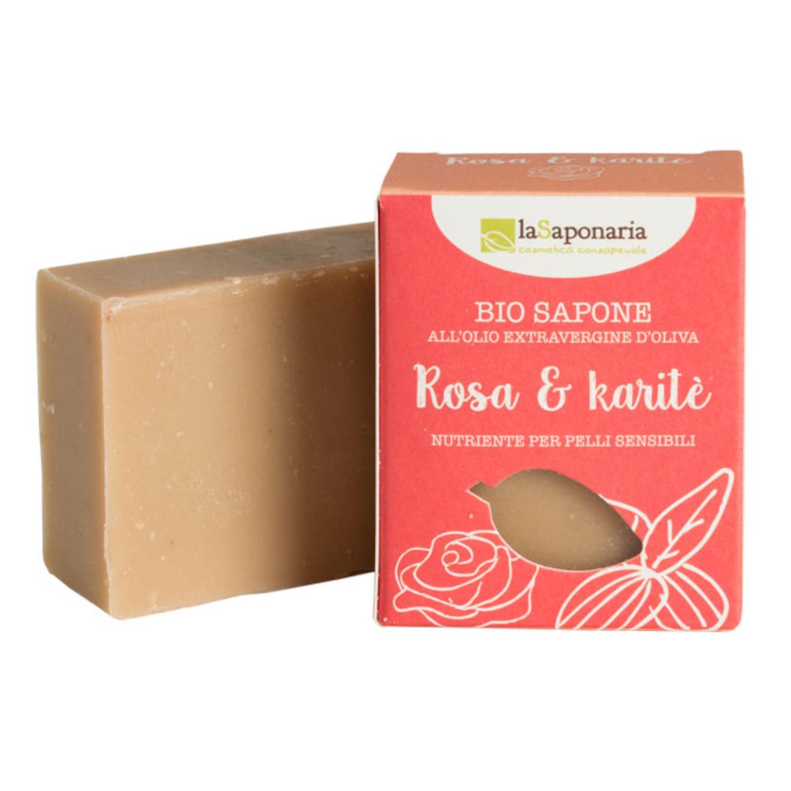 laSaponaria Tuhé olivové mýdlo BIO, Růžový olej a bambucké máslo 100 g