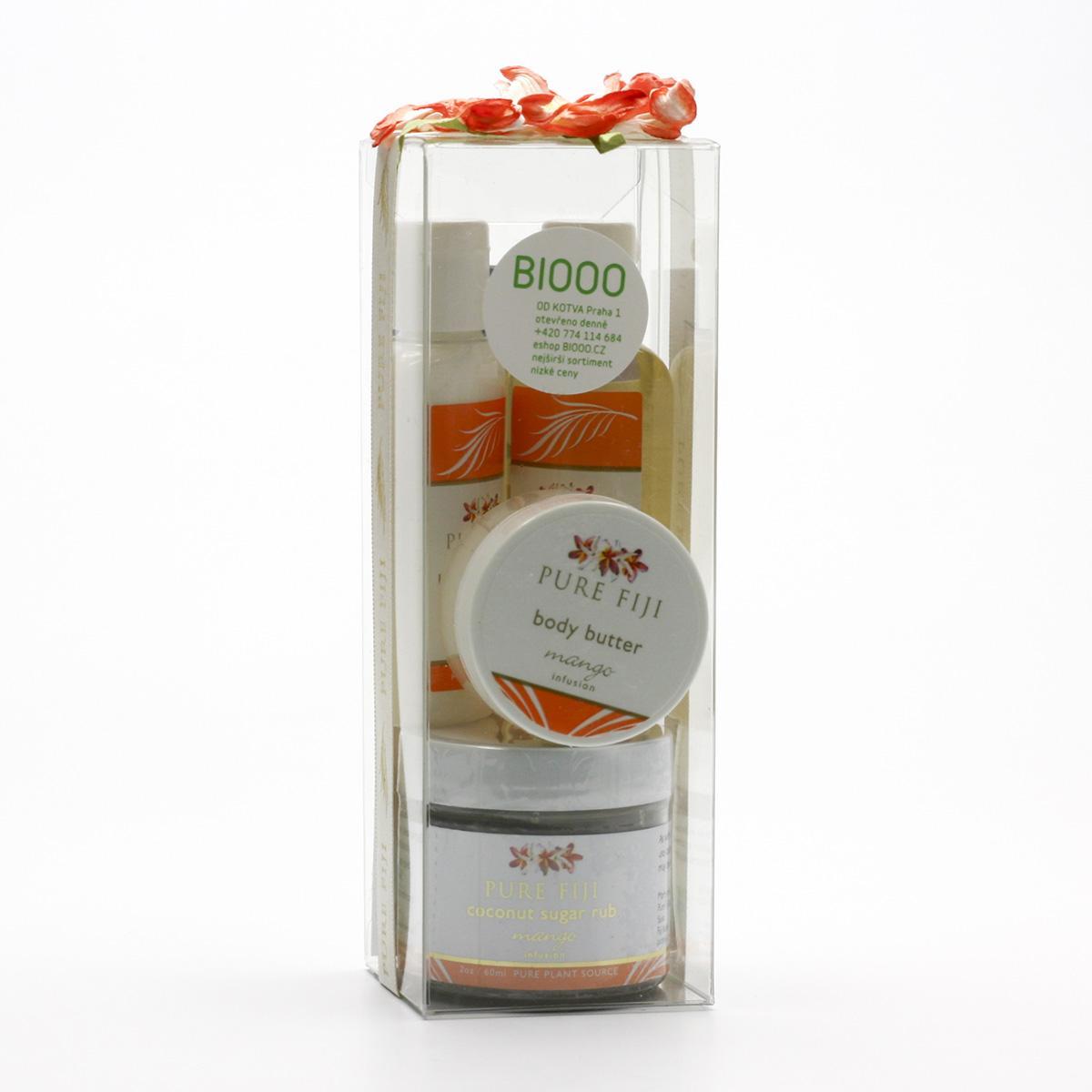 Pure Fiji Dárková sada kokosových produktů, mango 4 ks