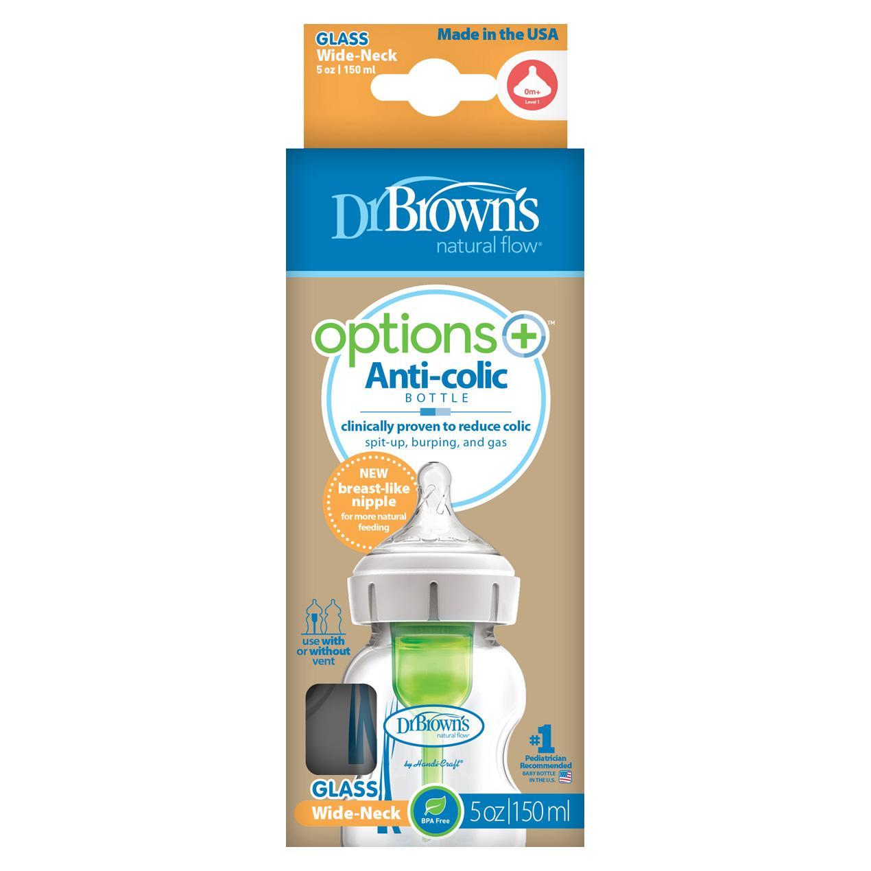 Dr.Brown´s Natural Flow Options+ Anti-colic Wide-Neck Glass Baby Bottle kojenecká láhev 150 ml