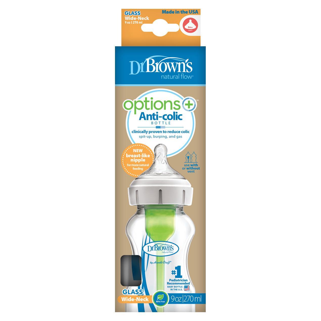 Dr.Brown´s Natural Flow Options+ Anti-colic Wide-Neck Glass Baby Bottle kojenecká láhev 270 ml
