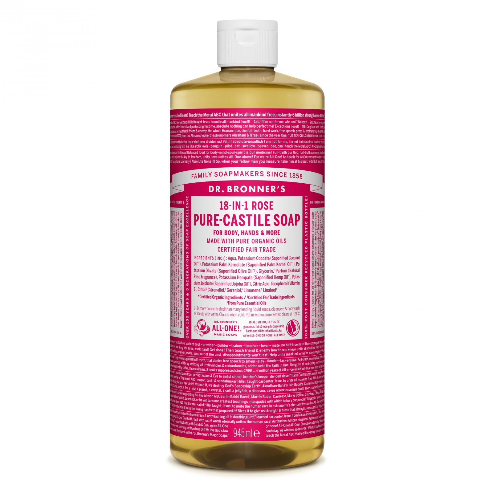 Dr. Bronner's Tekuté universální mýdlo ALL-ONE!, Rose 945 ml