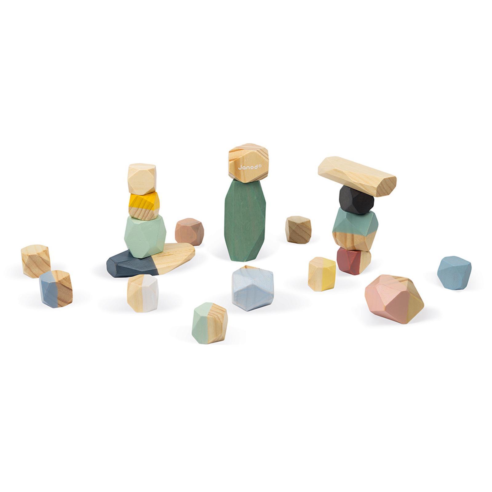 Janod Sweet Cocoon dřevěné kostky Stohovací kameny, stavebnice od 2 let 20 kostek
