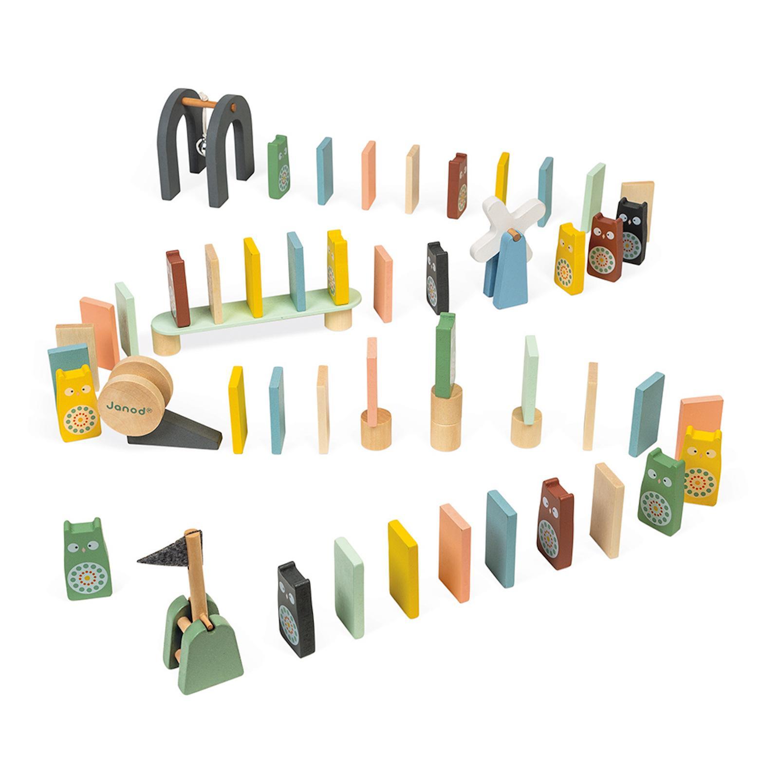 Janod Sweet Cocoon Dřevěné kostky Padající domino 100 ks, stavebnice od 3 let 100 kostek