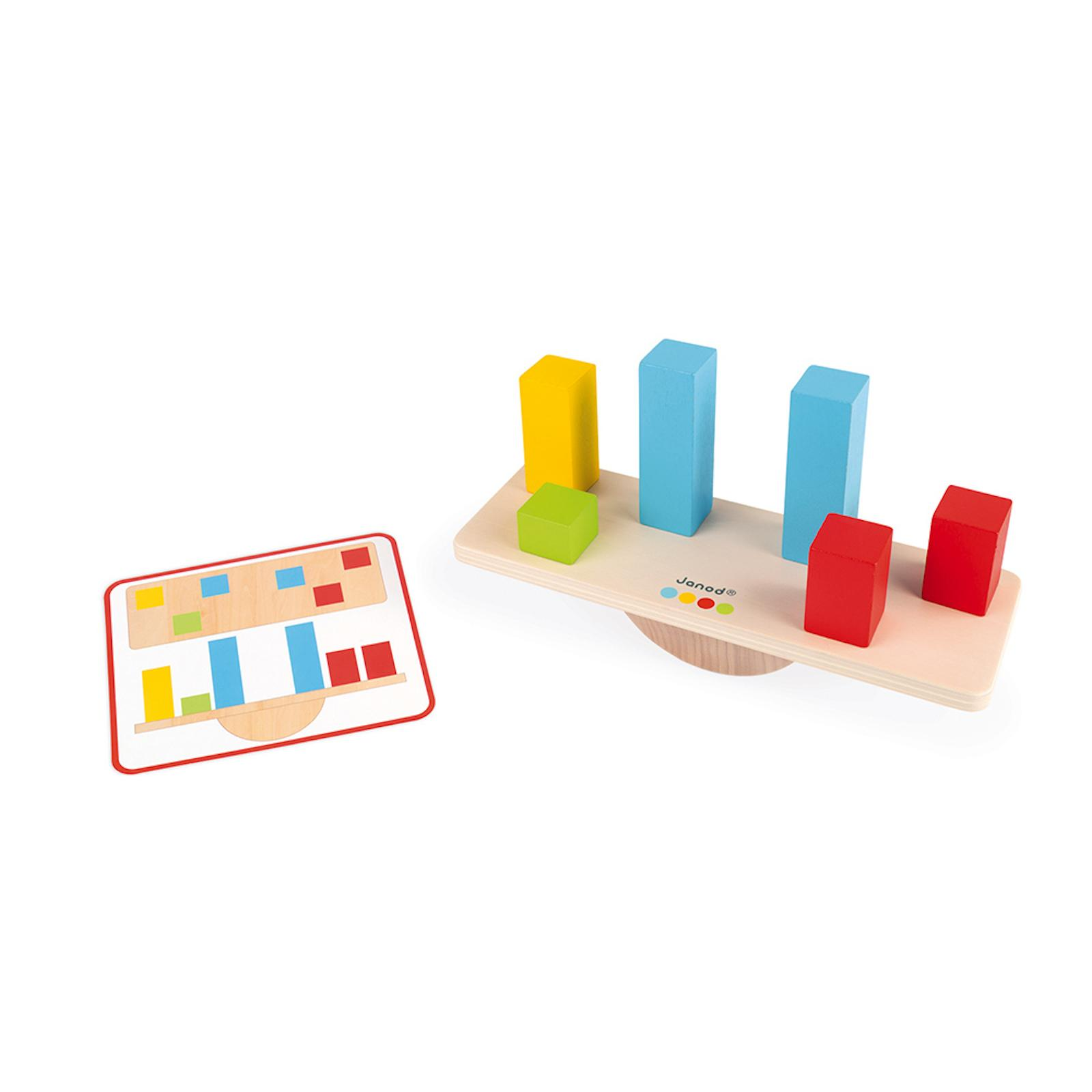 Janod Dřevěná hračka váhy a závaží s předlohami série Montessori 1 ks