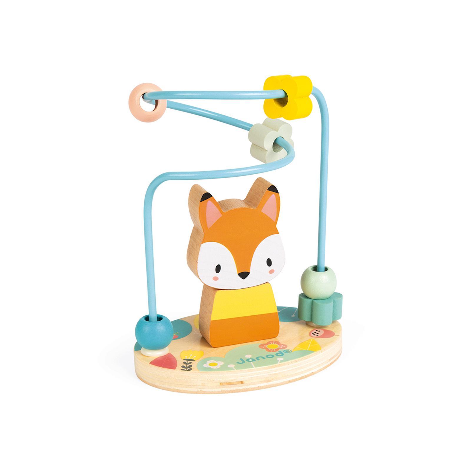 Janod Pure motorická dřevěná hračka smyčkování Liška 1 ks