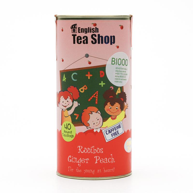 English Tea Shop x Dětský čaj rooibos zázvor a broskev, plechová krabička 40 ks