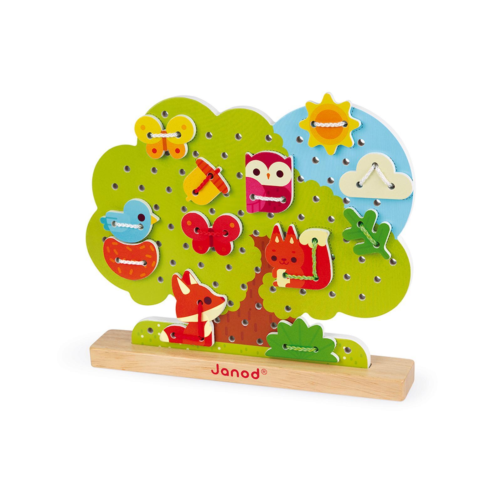 Janod Dřevěná provlékačka Strom 12 tvarů